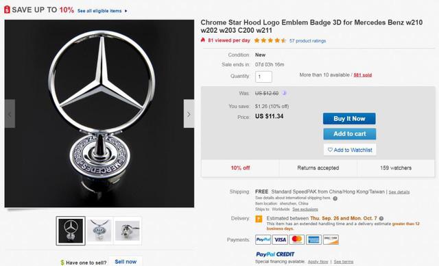 Lô-gô nhái Mercedes-Benz được rao bán trên mạng, nhưng người bán từ Trung Quốc và vận chuyển về Việt Nam.